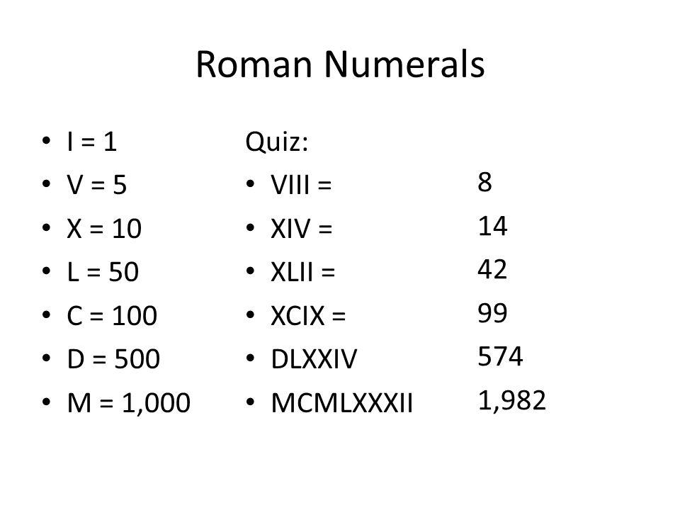 Roman Numerals I = 1 V = 5 X = 10 L = 50 C = 100 D = 500 M = 1,000 Quiz: VIII = XIV = XLII = XCIX = DLXXIV MCMLXXXII 8 14 42 99 574 1,982
