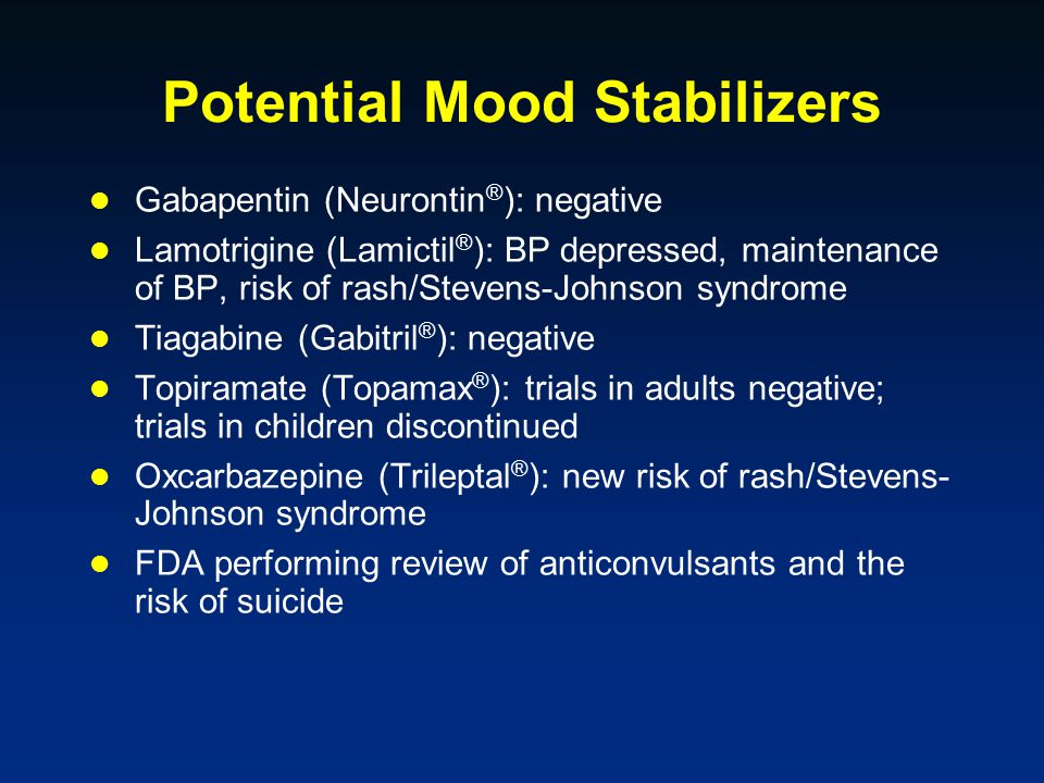 Potential Mood Stabilizers Gabapentin (Neurontin ® ): negative Lamotrigine (Lamictil ® ): BP depressed, maintenance of BP, risk of rash/Stevens-Johnson syndrome Tiagabine (Gabitril ® ): negative Topiramate (Topamax ® ): trials in adults negative; trials in children discontinued Oxcarbazepine (Trileptal ® ): new risk of rash/Stevens- Johnson syndrome FDA performing review of anticonvulsants and the risk of suicide