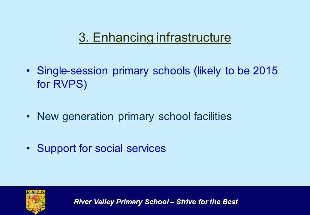River Valley Primary School – Strive for the Best 3. Enhancing infrastructure Single-session primary schools (likely to be 2015 for RVPS) New generati