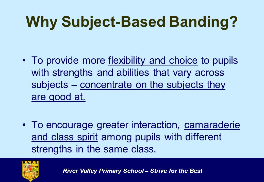 River Valley Primary School – Strive for the Best Why Subject-Based Banding.