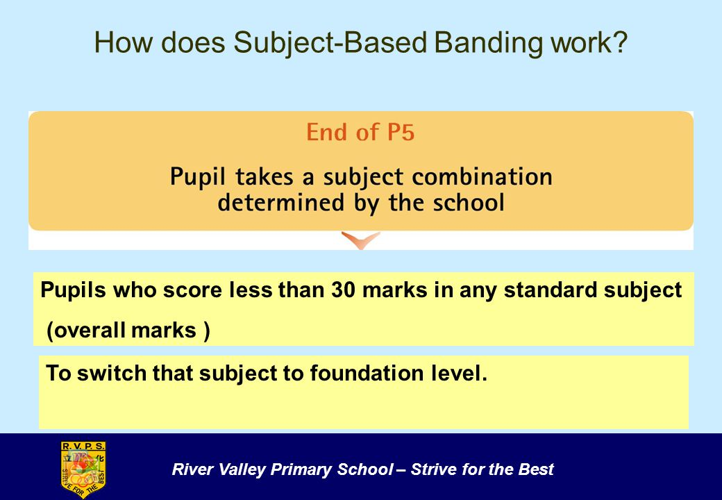 River Valley Primary School – Strive for the Best How does Subject-Based Banding work? Pupils who score less than 30 marks in any standard subject (ov