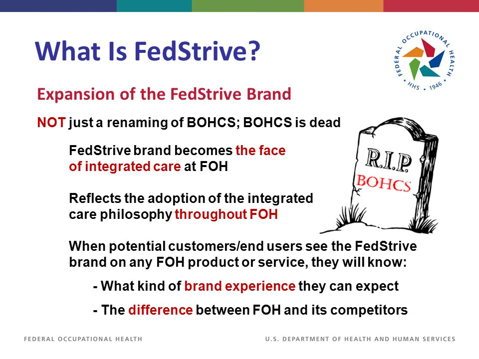 Expansion of the FedStrive Brand Reflects the adoption of the integrated care philosophy throughout FOH When potential customers/end users see the Fed