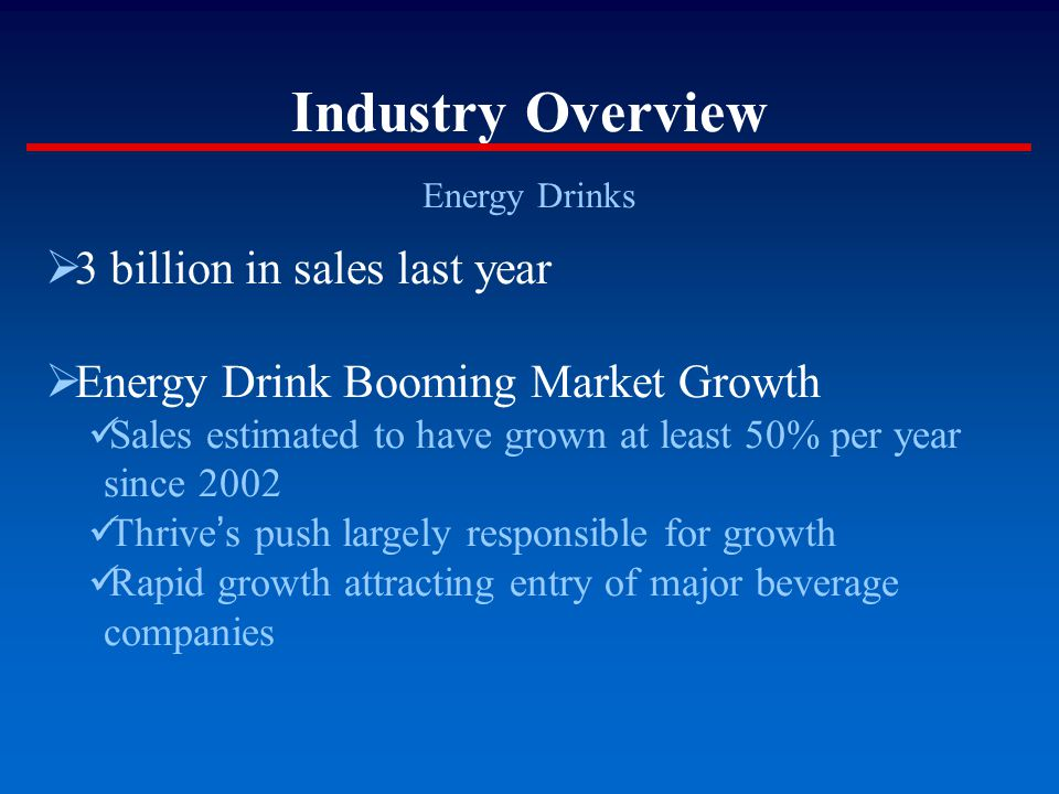Industry Overview (cont = d) Energy Drinks  Market growth is fueled by Lifestyle image Trend consciousness  Thrive and Emerge are Top Two Brands Bom Dia recent entrant from PureBev Increasingly significant presence, especially in the West Numerous smaller labels compete  Large Convenience Chains are Primary Outlet