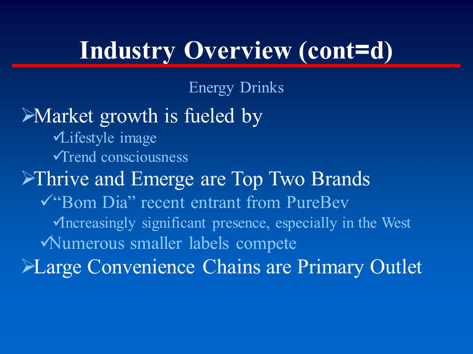 "Industry Overview (cont = d) Energy Drinks  Market growth is fueled by Lifestyle image Trend consciousness  Thrive and Emerge are Top Two Brands ""Bo"