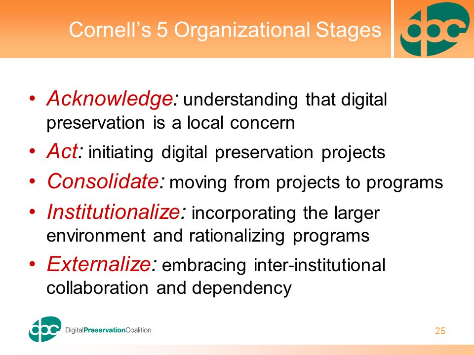 25 Cornell's 5 Organizational Stages Acknowledge: understanding that digital preservation is a local concern Act: initiating digital preservation projects Consolidate: moving from projects to programs Institutionalize: incorporating the larger environment and rationalizing programs Externalize: embracing inter-institutional collaboration and dependency