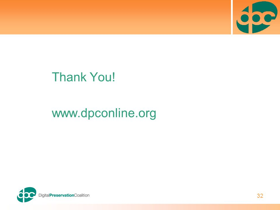 32 Thank You! www.dpconline.org