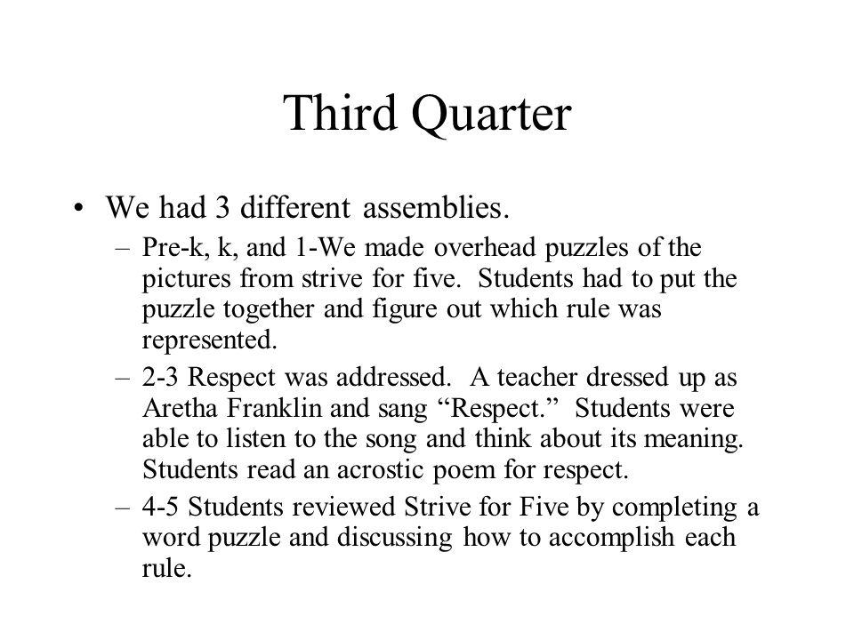 Third Quarter We had 3 different assemblies.