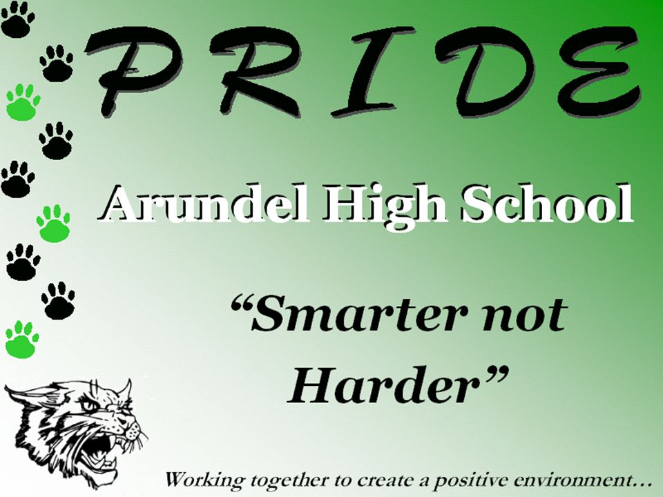 Arundel High School Smarter not Harder Working together to create a positive environment…