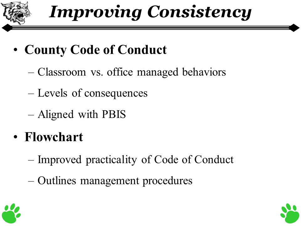 Improving Consistency County Code of Conduct –Classroom vs.