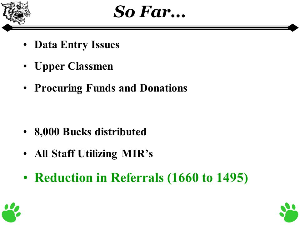 So Far… Data Entry Issues Upper Classmen Procuring Funds and Donations 8,000 Bucks distributed All Staff Utilizing MIR's Reduction in Referrals (1660 to 1495)