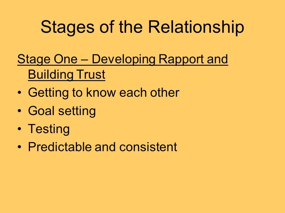 Stages of the Relationship Stage One – Developing Rapport and Building Trust Getting to know each other Goal setting Testing Predictable and consistent