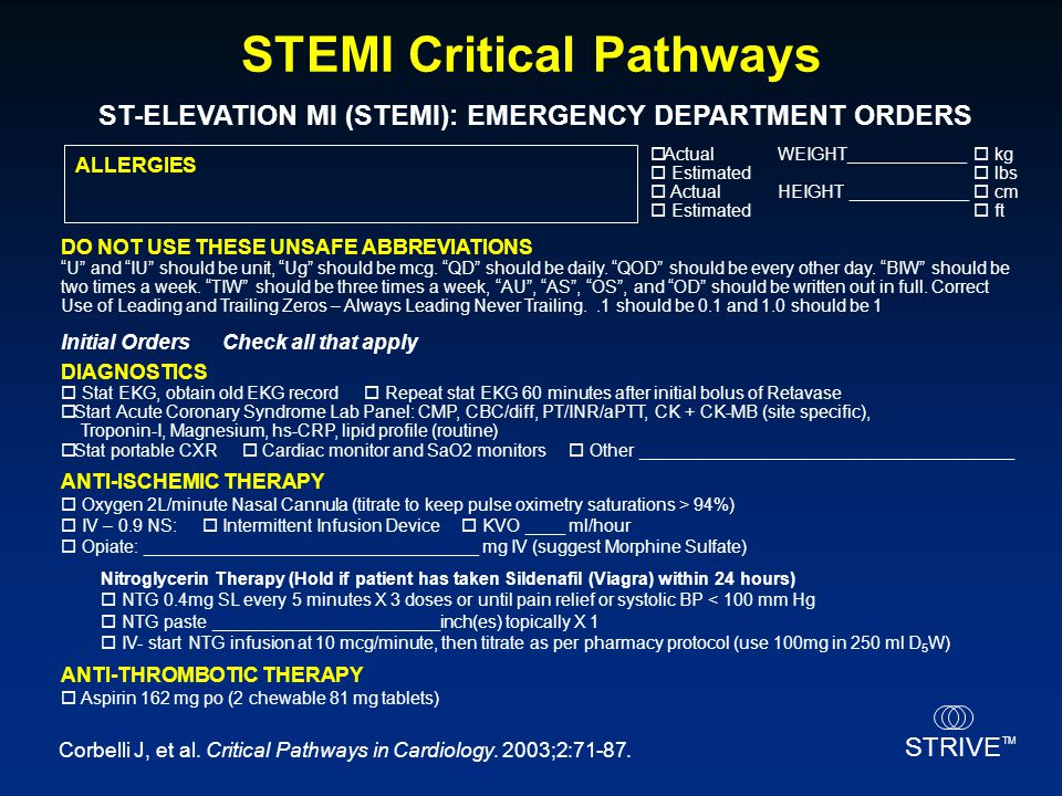 STRIVE TM STEMI Critical Pathways Corbelli J, et al. Critical Pathways in Cardiology. 2003;2:71-87. ST-ELEVATION MI (STEMI): EMERGENCY DEPARTMENT ORDE