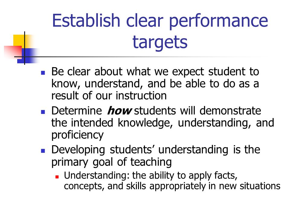 Establish clear performance targets Be clear about what we expect student to know, understand, and be able to do as a result of our instruction Determ