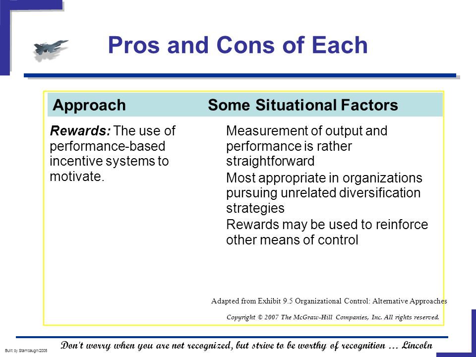 Pros and Cons of Each Built by Stambaugh/2005 Rewards: The use of performance-based incentive systems to motivate.