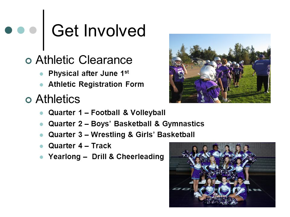 Get Involved Athletic Clearance Physical after June 1 st Athletic Registration Form Athletics Quarter 1 – Football & Volleyball Quarter 2 – Boys' Basketball & Gymnastics Quarter 3 – Wrestling & Girls' Basketball Quarter 4 – Track Yearlong – Drill & Cheerleading