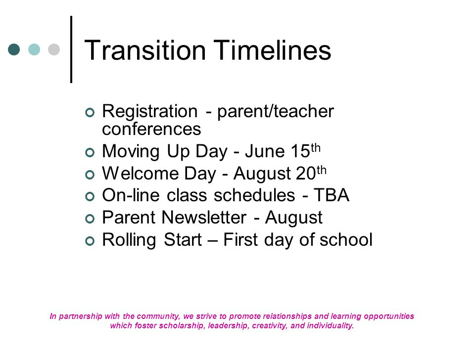 Transition Timelines Registration - parent/teacher conferences Moving Up Day - June 15 th Welcome Day - August 20 th On-line class schedules - TBA Parent Newsletter - August Rolling Start – First day of school In partnership with the community, we strive to promote relationships and learning opportunities which foster scholarship, leadership, creativity, and individuality.