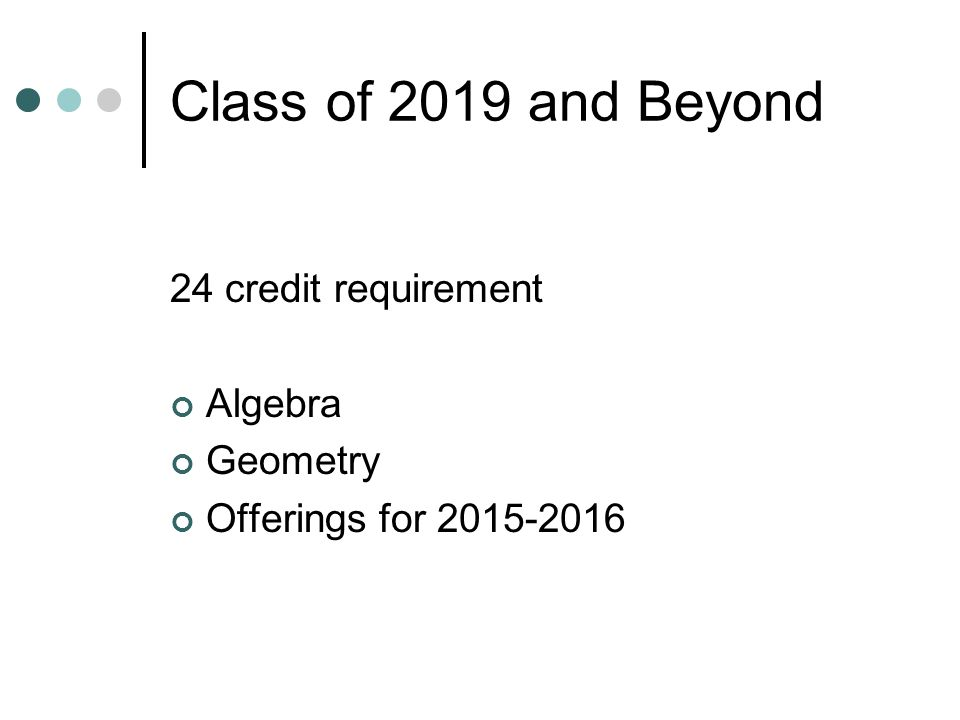 Class of 2019 and Beyond 24 credit requirement Algebra Geometry Offerings for 2015-2016
