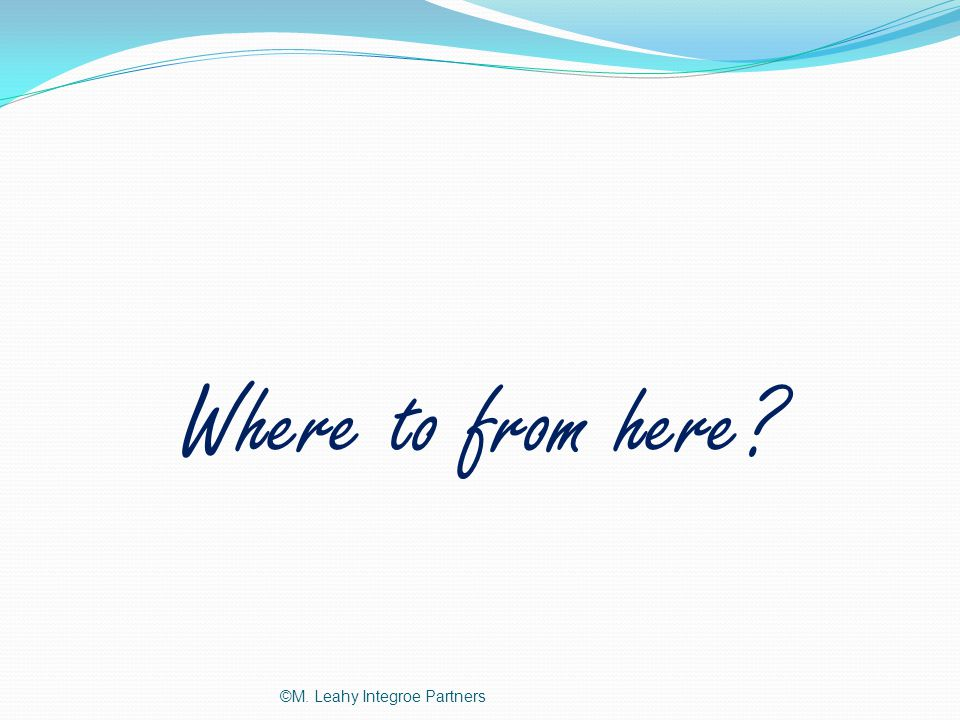 Where to from here ©M. Leahy Integroe Partners