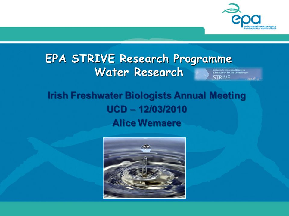 EPA STRIVE Research Programme Water Research Irish Freshwater Biologists Annual Meeting UCD – 12/03/2010 Alice Wemaere