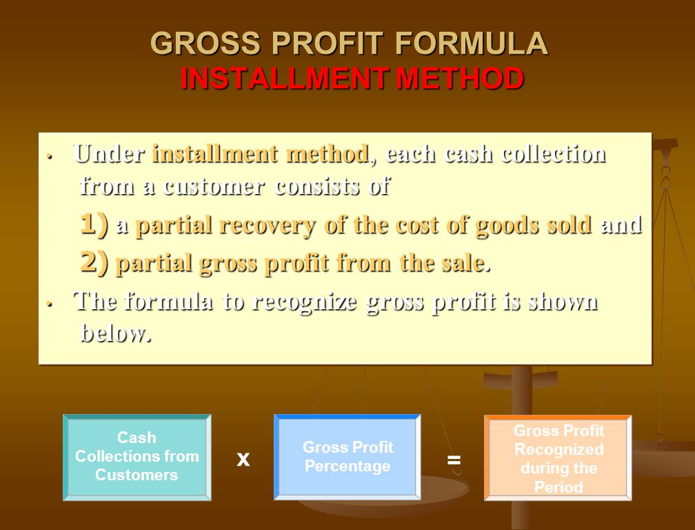 Cash Collections from Customers Gross Profit Percentage x = Gross Profit Recognized during the Period GROSS PROFIT FORMULA INSTALLMENT METHOD Under in