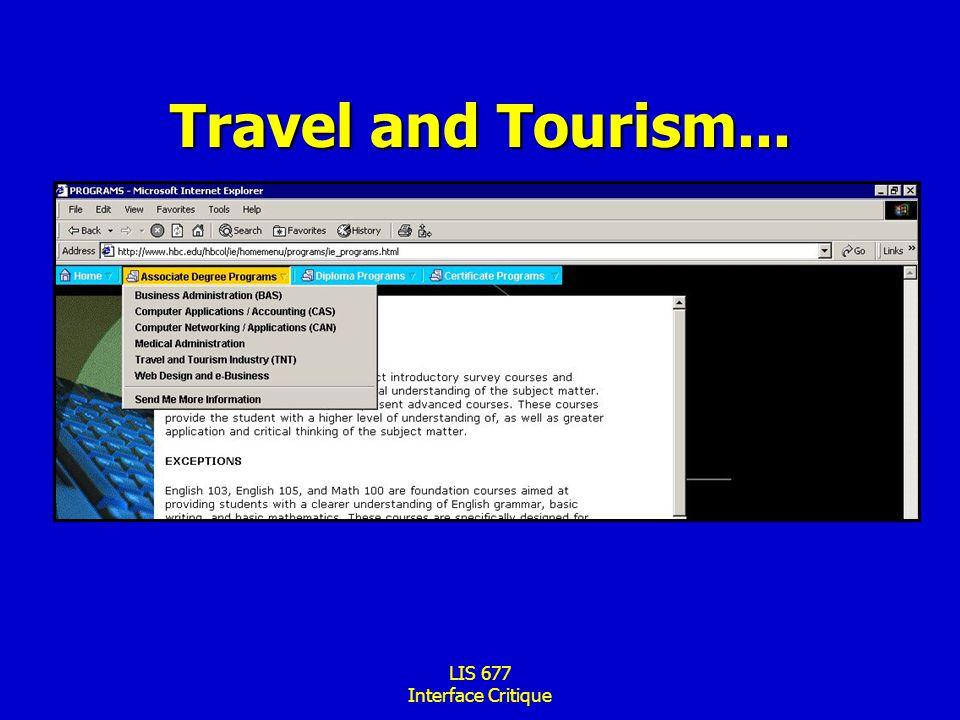 LIS 677 Interface Critique Travel and Tourism...