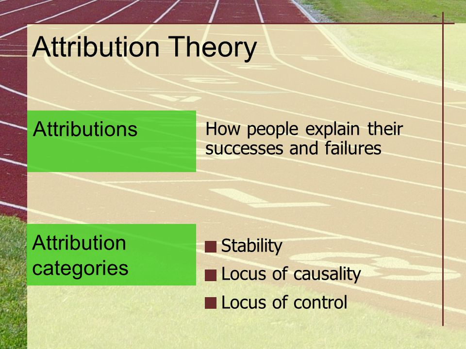 Attribution Theory How people explain their successes and failures Stability Locus of causality Attributions Attribution categories Locus of control