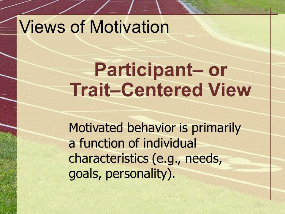 Participant– or Trait–Centered View Motivated behavior is primarily a function of individual characteristics (e.g., needs, goals, personality). Views