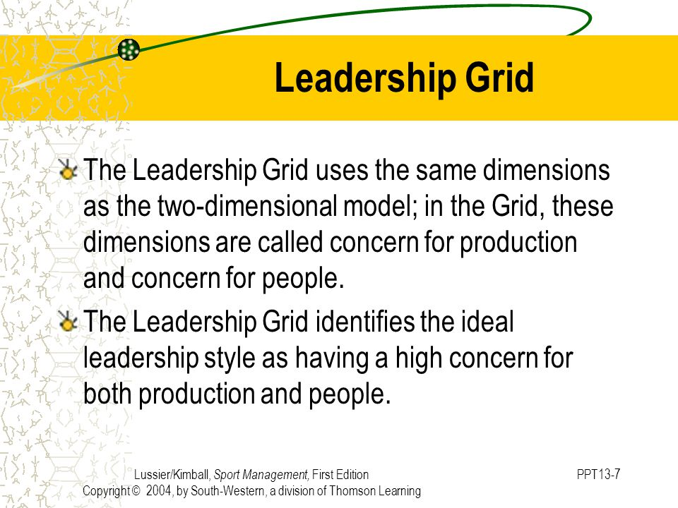 Lussier/Kimball, Sport Management, First Edition Copyright © 2004, by South-Western, a division of Thomson Learning PPT13-7 Leadership Grid The Leadership Grid uses the same dimensions as the two-dimensional model; in the Grid, these dimensions are called concern for production and concern for people.