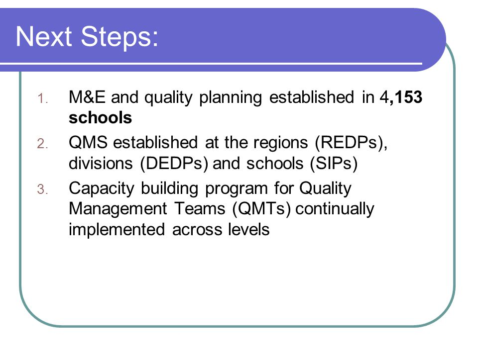 Next Steps: 1. M&E and quality planning established in 4,153 schools 2.