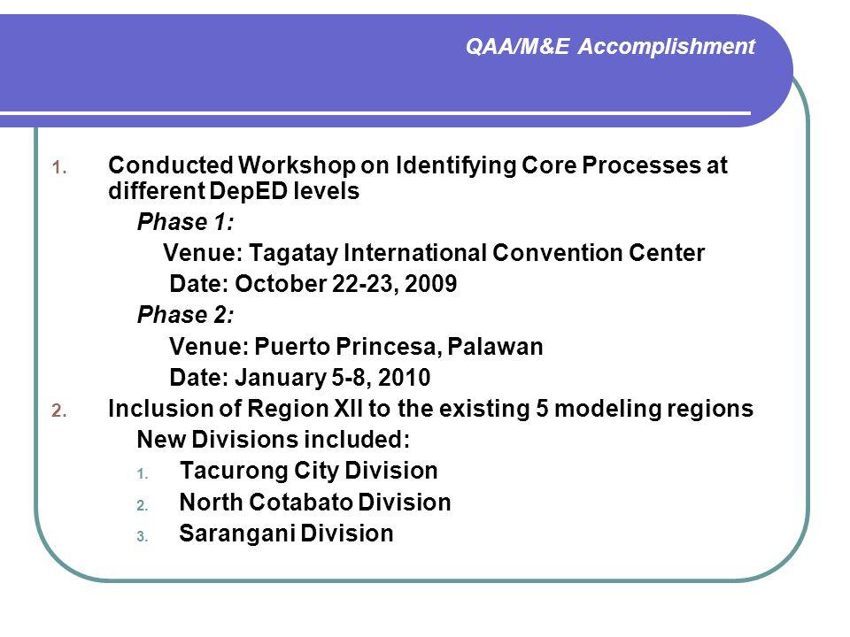 QAA/M&E Accomplishment 1.