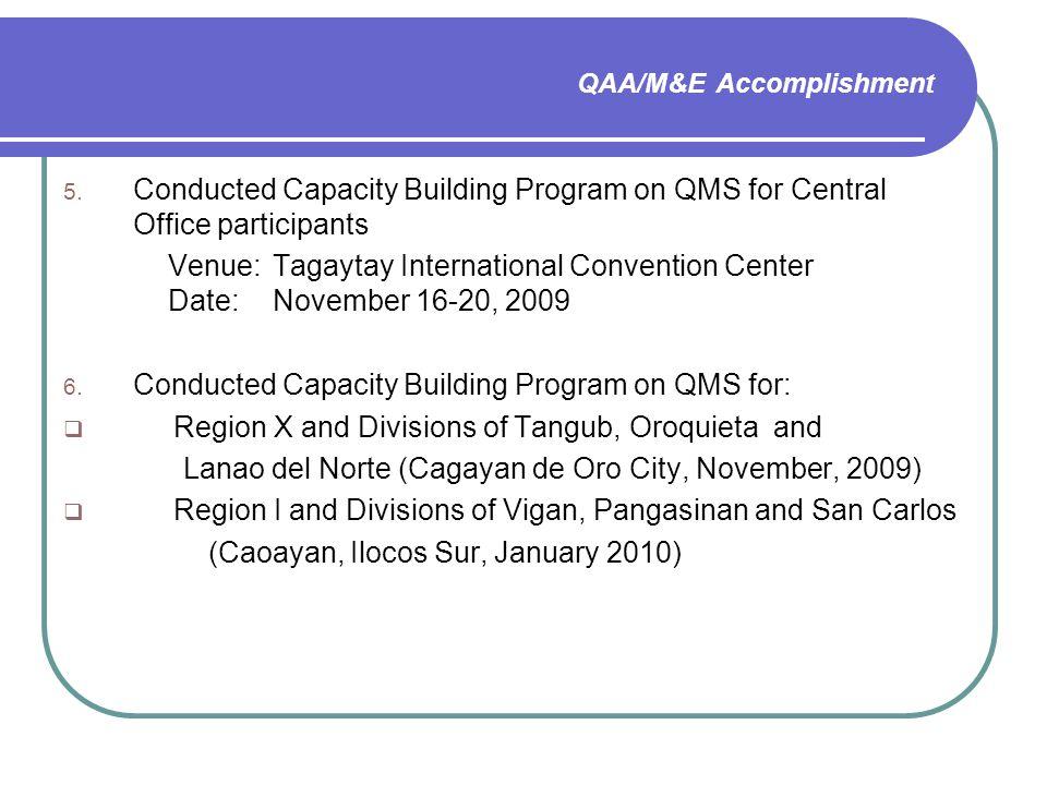 QAA/M&E Accomplishment 5.
