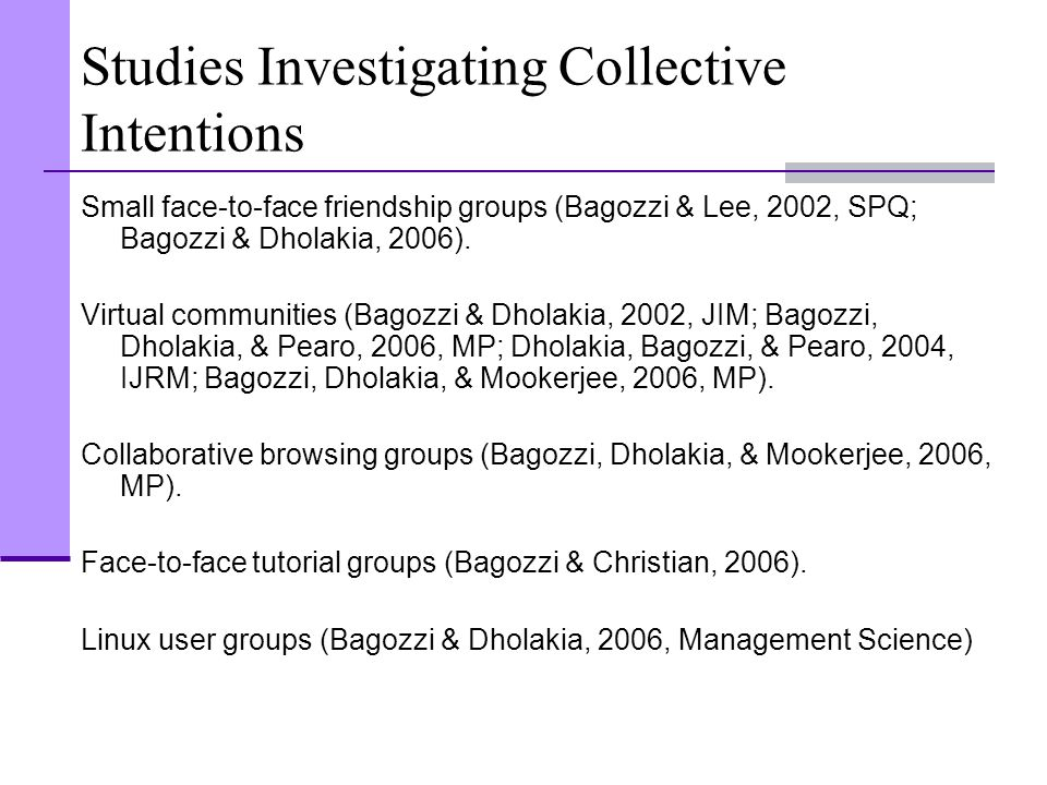 Studies Investigating Collective Intentions Small face-to-face friendship groups (Bagozzi & Lee, 2002, SPQ; Bagozzi & Dholakia, 2006). Virtual communi