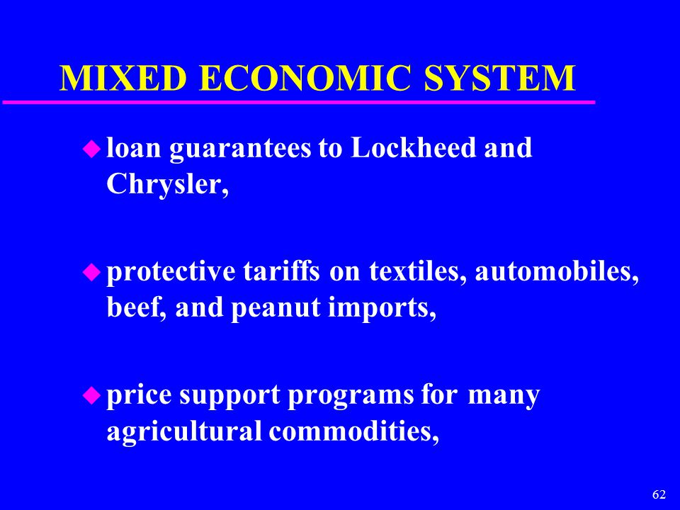 62 MIXED ECONOMIC SYSTEM u loan guarantees to Lockheed and Chrysler, u protective tariffs on textiles, automobiles, beef, and peanut imports, u price
