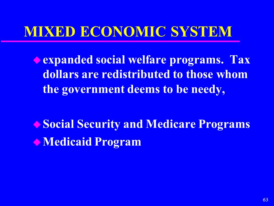 63 MIXED ECONOMIC SYSTEM u expanded social welfare programs.