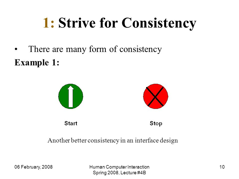 06 February, 2008Human Computer Interaction Spring 2008, Lecture #4B 10 1: Strive for Consistency There are many form of consistency Example 1: Anothe