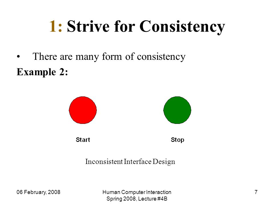 06 February, 2008Human Computer Interaction Spring 2008, Lecture #4B 7 1: Strive for Consistency There are many form of consistency Example 2: Inconsi