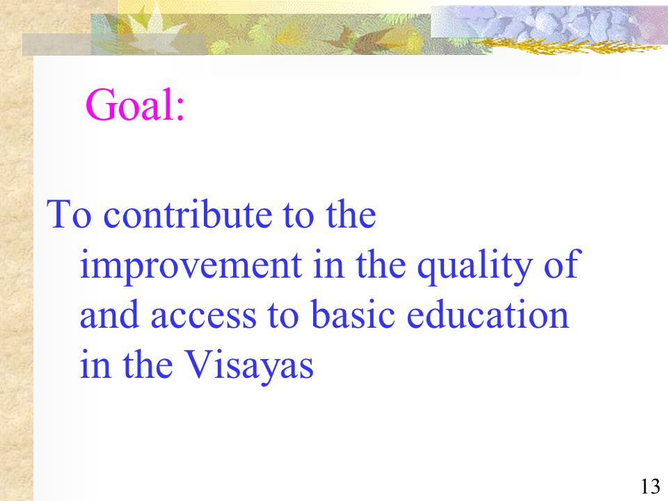 13 Goal: To contribute to the improvement in the quality of and access to basic education in the Visayas