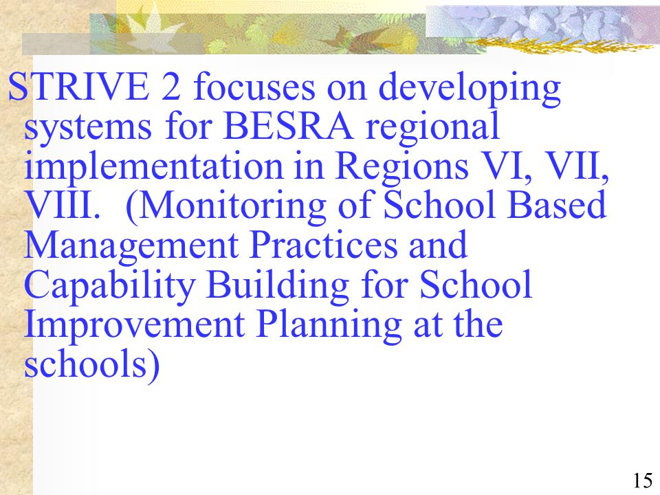 15 STRIVE 2 focuses on developing systems for BESRA regional implementation in Regions VI, VII, VIII. (Monitoring of School Based Management Practices