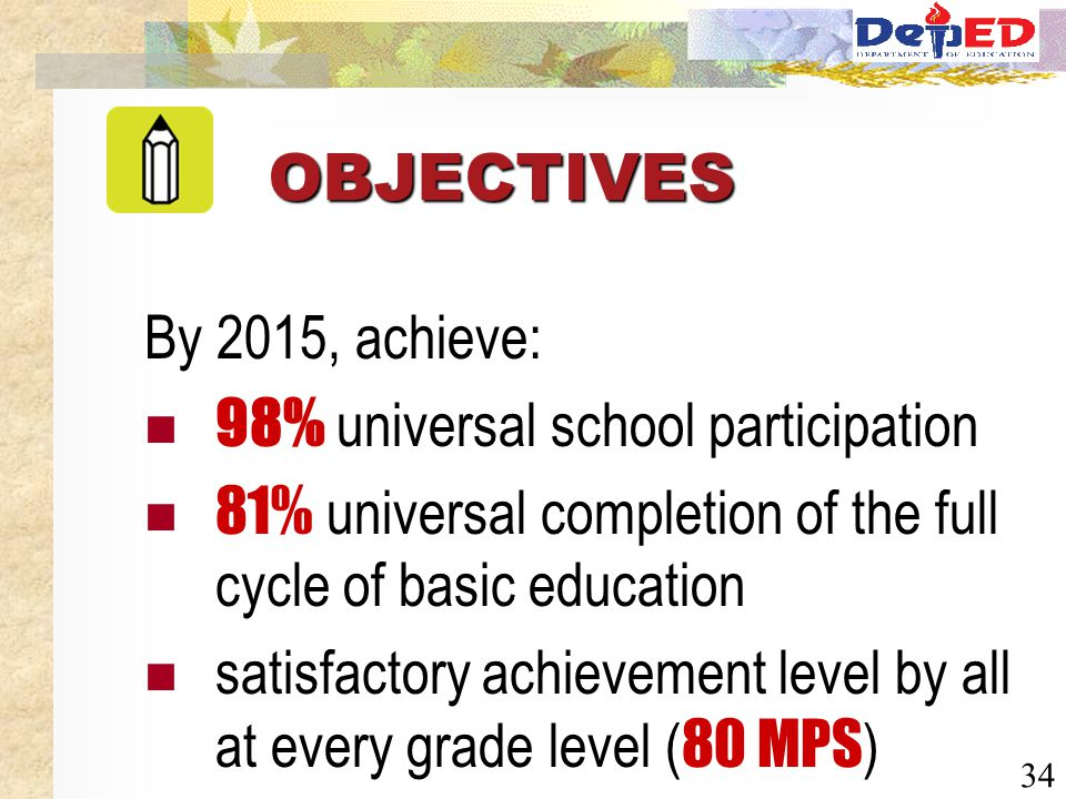 34 By 2015, achieve: 98% universal school participation 81% universal completion of the full cycle of basic education satisfactory achievement level b