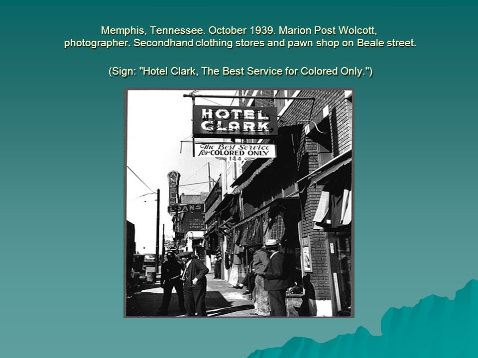 Memphis, Tennessee. October 1939. Marion Post Wolcott, photographer.