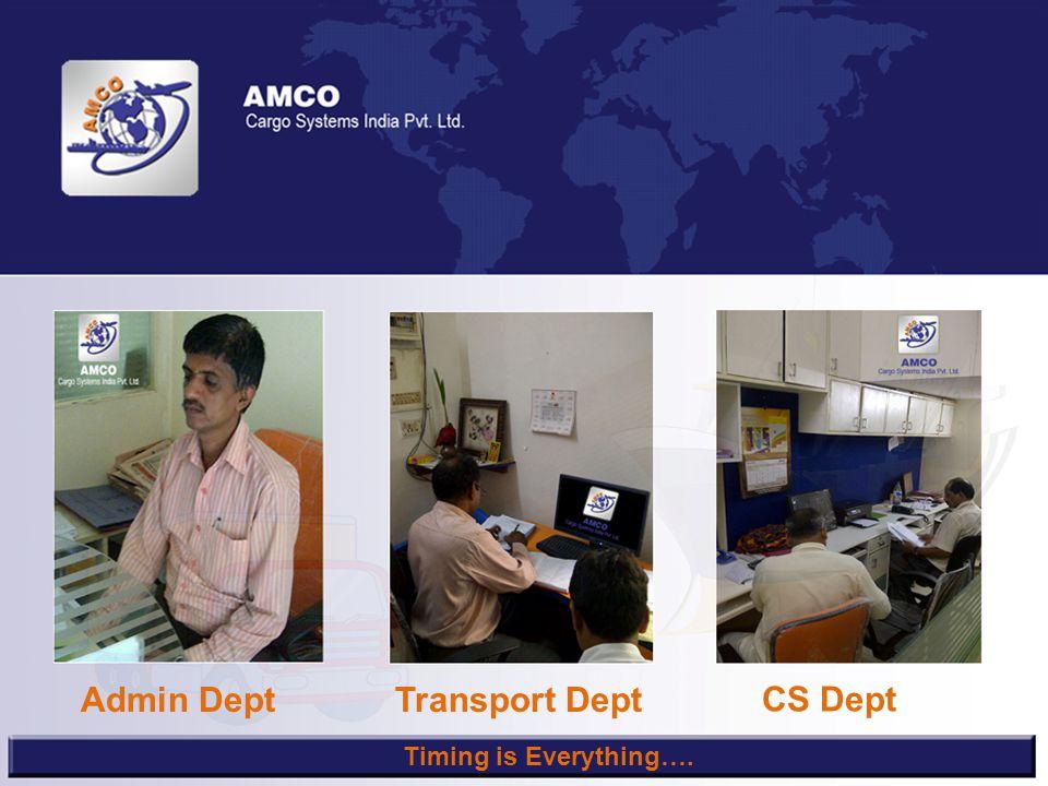 Admin DeptTransport Dept CS Dept Timing is Everything….