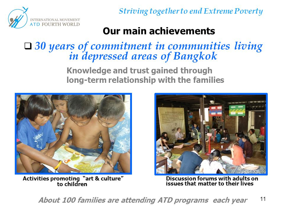 """11 Striving together to end Extreme Poverty  30 years of commitment in communities living in depressed areas of Bangkok Activities promoting """"art & c"""