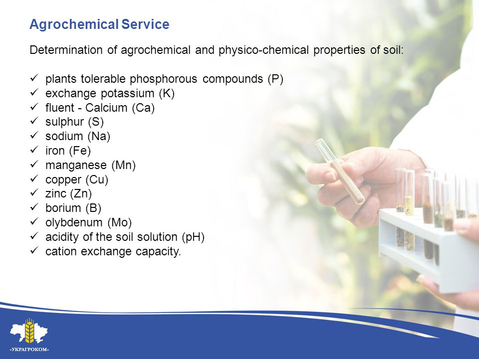 Agrochemical Service Determination of agrochemical and physico-chemical properties of soil: plants tolerable phosphorous compounds (P) exchange potass