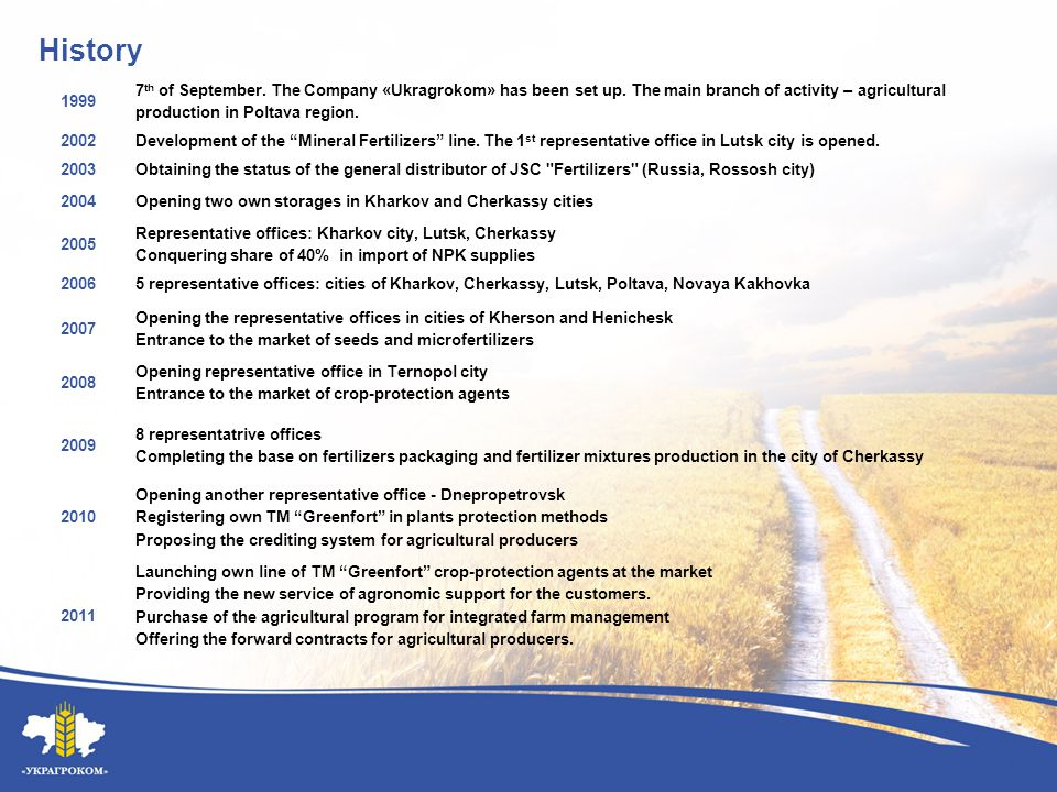 Missions of «Ukragrokom» for 2012 – 2014 years High-quality agronomic support Further growth of the representative network with extended infrastructure Expanding the product line of crop-protection products TM Greenfort and aqueous fertilizer TM Greenfort Stimulus Personnel development Customer-oriented approach of the Company, new loyalty programs Complex support of agricultural producers with agrochemical products and seeds