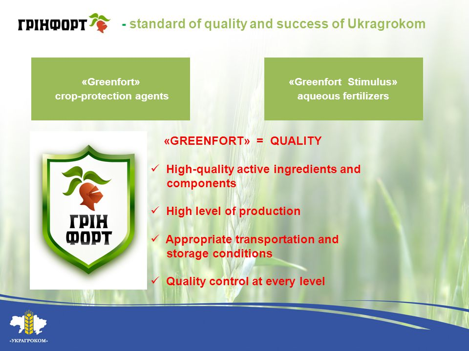 Market Trends of Crop-Protection Agents 2009 2010 2011 50 % / 50% Generics / Original The growth of the market share of generics from 10% to 50% 633 generic products are registered in Ukraine Annual prices' increase The rate of profit drops in the industry by increasing number of the market players 15% of the market - the black import Upward credit sales trends (prevailing type of crediting 30/70) 2008 $ 448 mln.