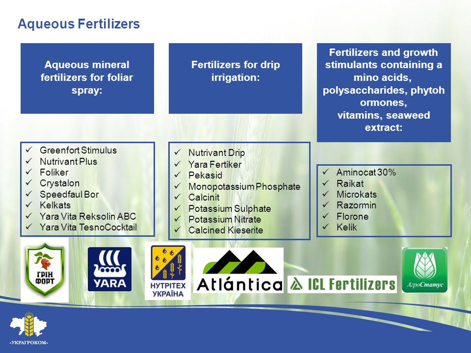 Aqueous Fertilizers Greenfort Stimulus Nutrivant Plus Foliker Crystalon Speedfaul Bor Kelkats Yara Vita Reksolin АВС Yara Vita TesnoCocktail Nutrivant