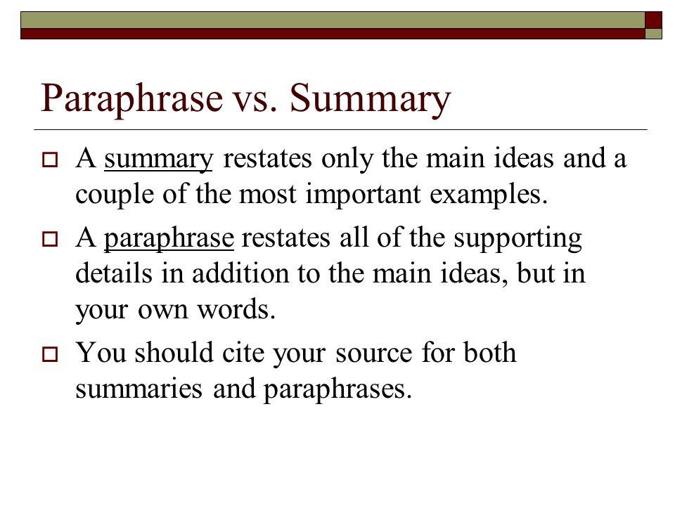 Paraphrase vs.