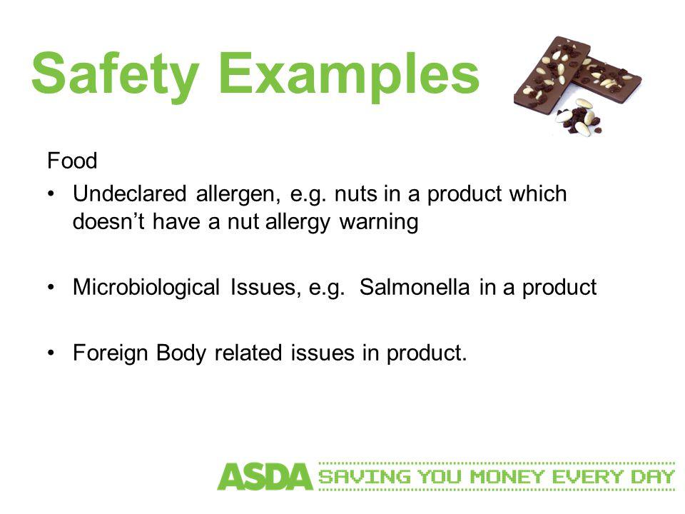 Safety Examples Food Undeclared allergen, e.g.