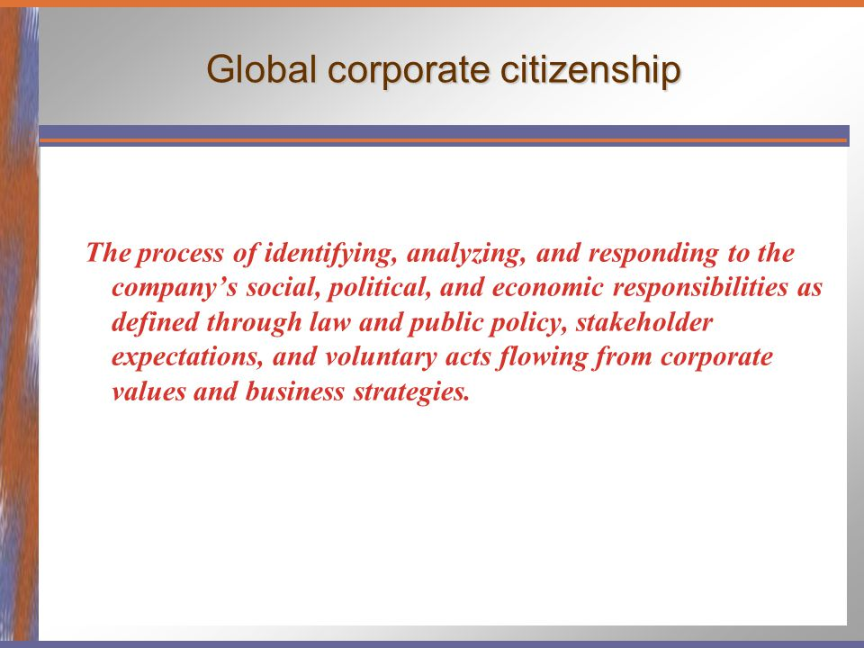 Global corporate citizenship The process of identifying, analyzing, and responding to the company's social, political, and economic responsibilities a