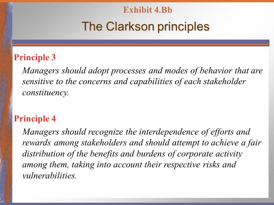 The Clarkson principles Principle 3 Managers should adopt processes and modes of behavior that are sensitive to the concerns and capabilities of each